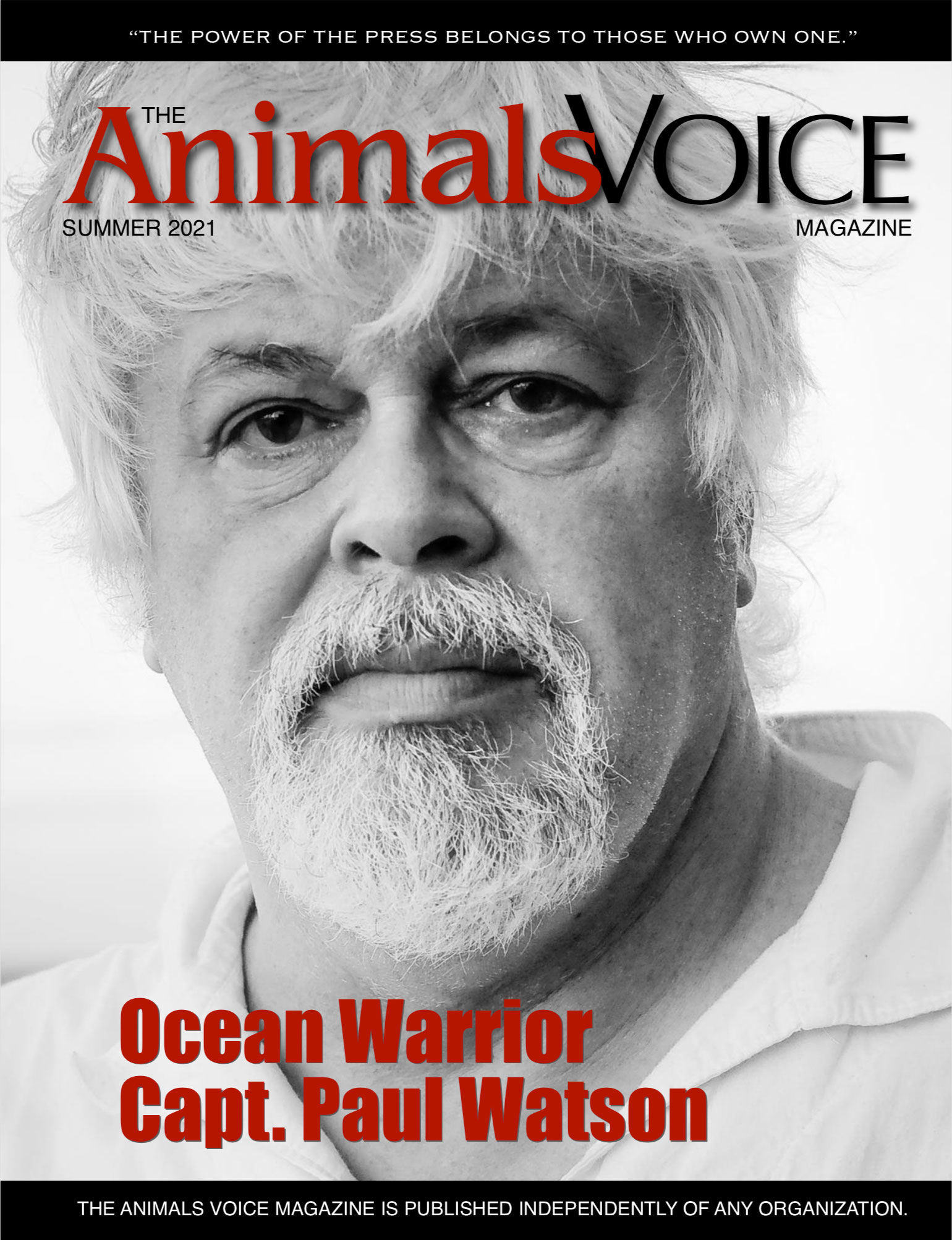 Cover of summer 2021 Animals Voice with Paul Watson