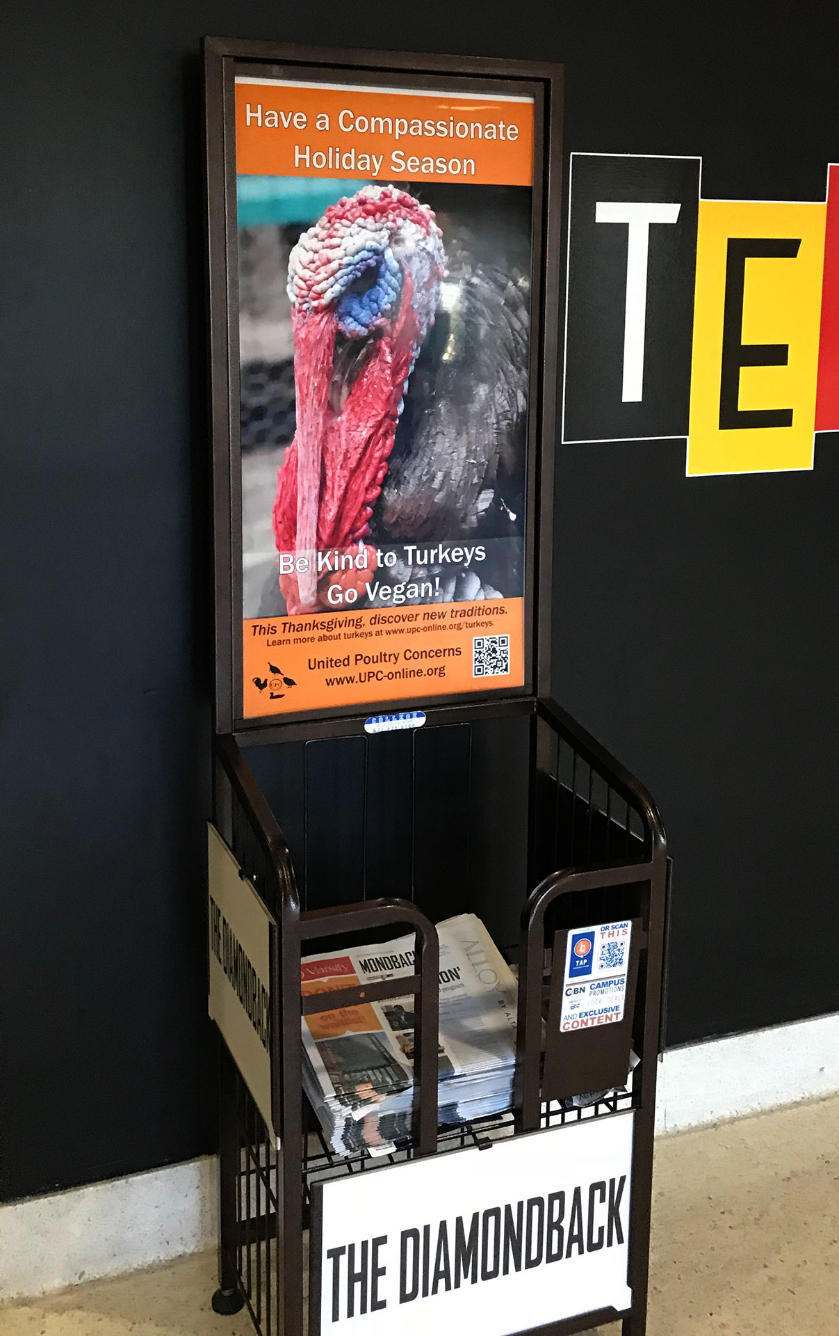 UPC Compassion for Turkeys poster in the UMD Student Union