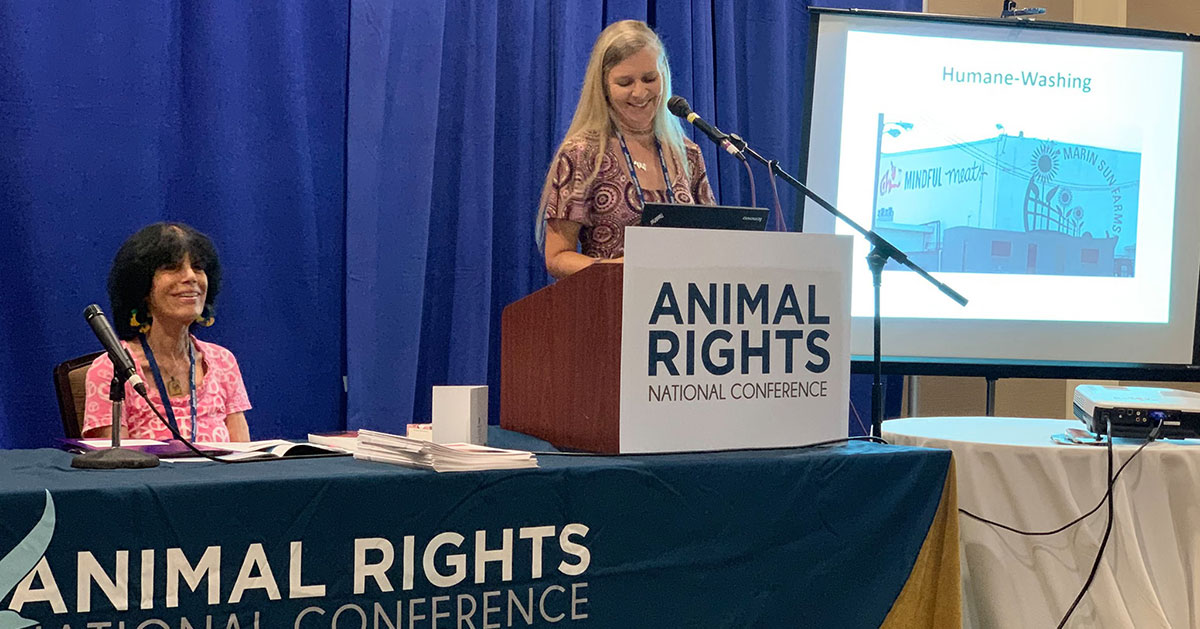 Karen and Hope speaking at the Animal Rights National Conference