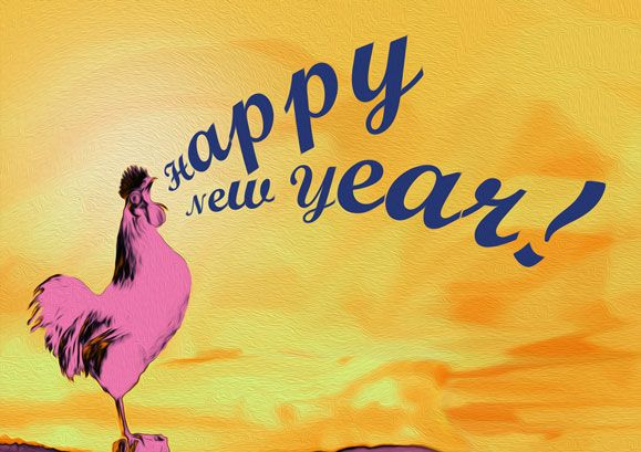 rooster crowoing Happy New Year