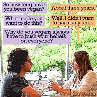 Non-vegan quizzing vegan