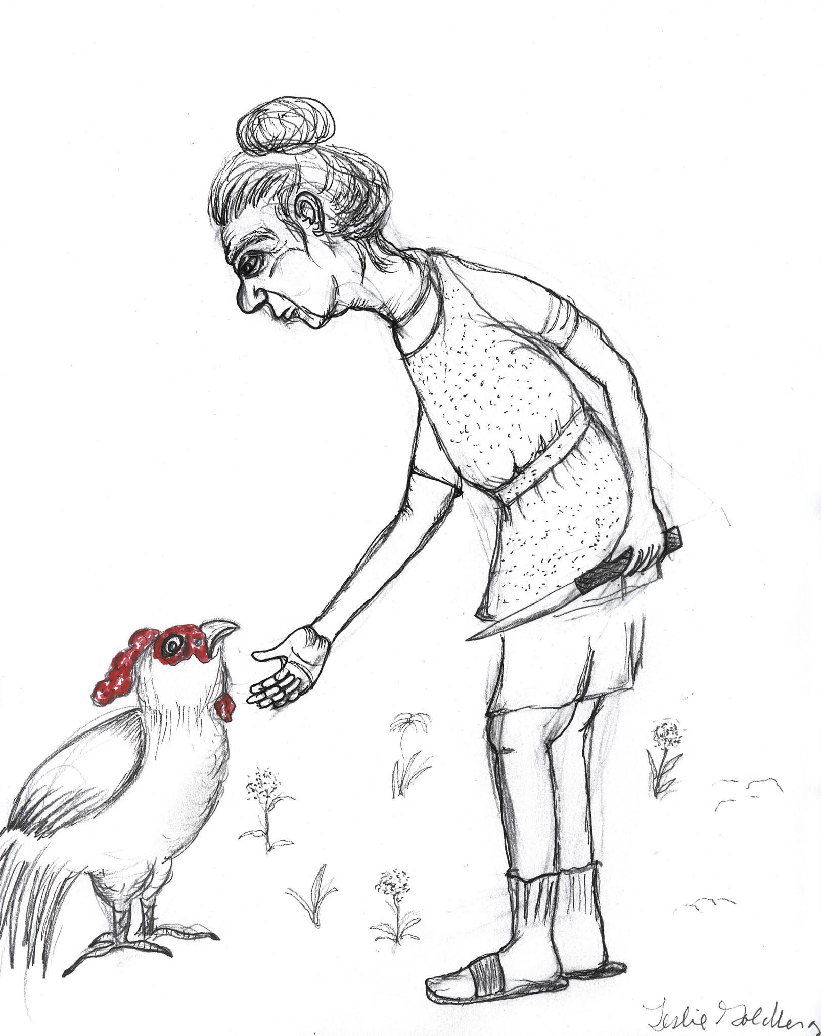 Drawing of woman with knife approaching a chicken, by Leslie Goldberg
