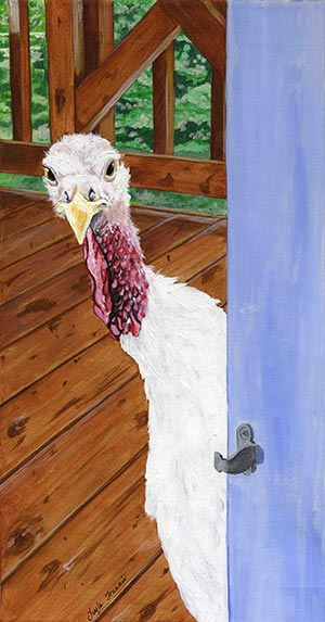 Painting of Katie the turkey peeking inside the door