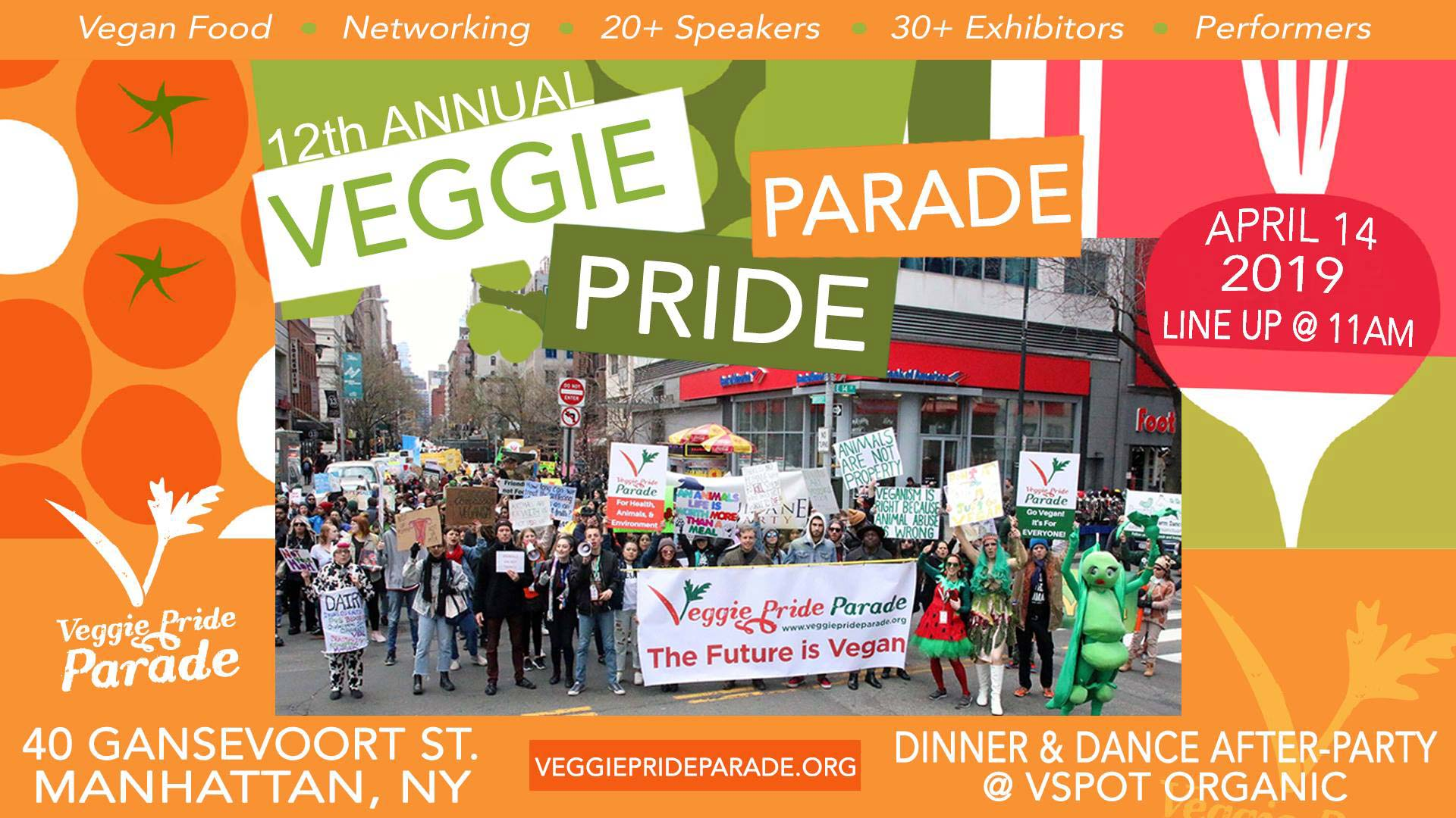Poster for the 12th annual veggie pride parade includes photo of previous parade