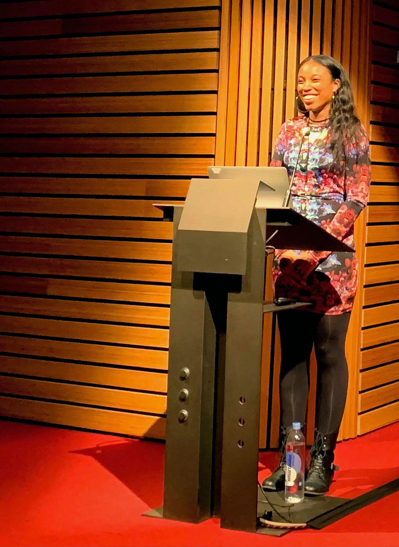 Jasmine Leyva at the podiuim