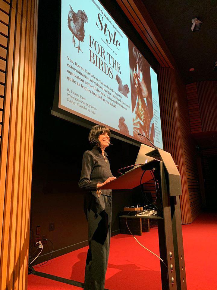 Karen Davis at the podiuim