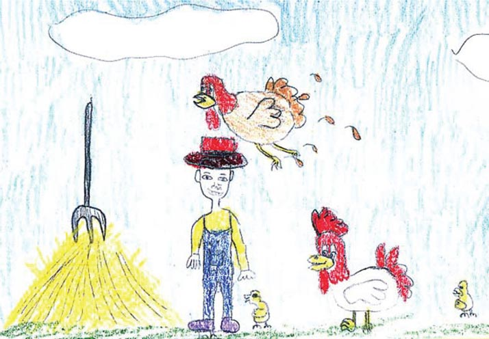 Child's drawing of farmer with chickens