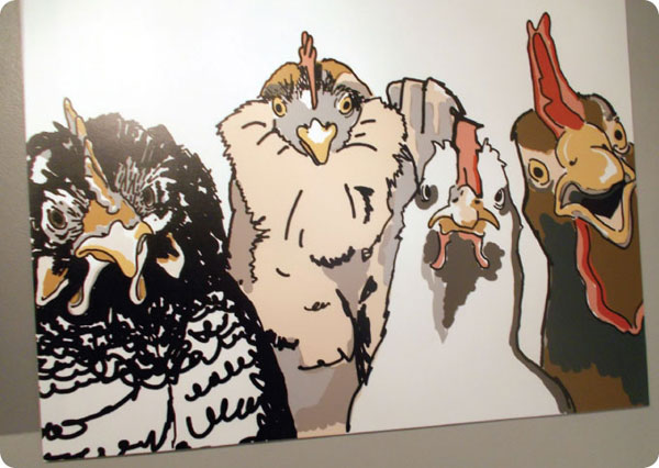 four chickens painting