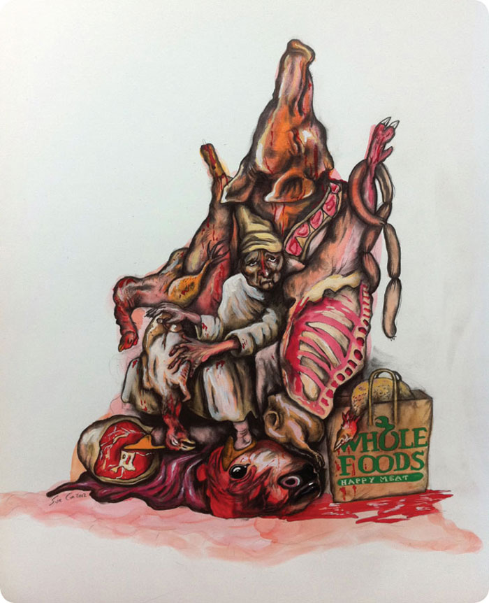 Painting: Buried in dead meat by Sue Cole