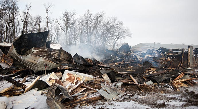Charred remains after the fire